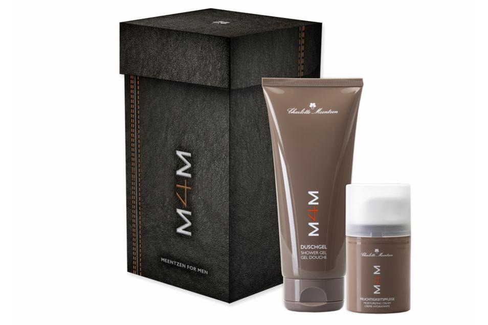 Macht schöner als Socken oder Schals: die M4M Geschenkbox für den Herren ist mit Duschgel und einem Feuchtigkeitsfluid gefüllt.