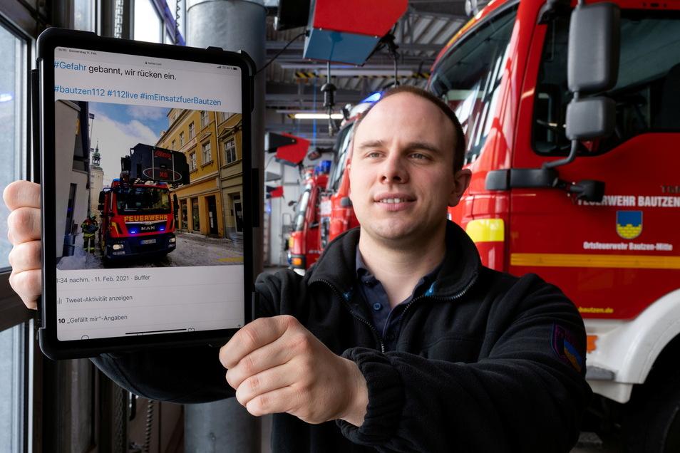 Paul Stübner ist Sprecher der Feuerwehr Bautzen und erklärt, was es mit der Aktion zur #Bluelightfirestation auf sich hat.