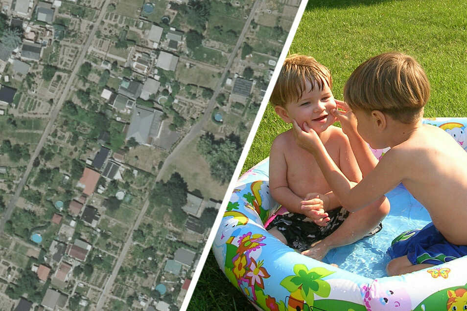 Das Luftbild einer Riesaer Kleingartenanlage von 2018 (l.) zeigt: Pools sind weit verbreitet. Aber nicht alle dürften den geforderten Größenvorgaben entsprechen wie der Planschpool auf im rechten Bildteil.