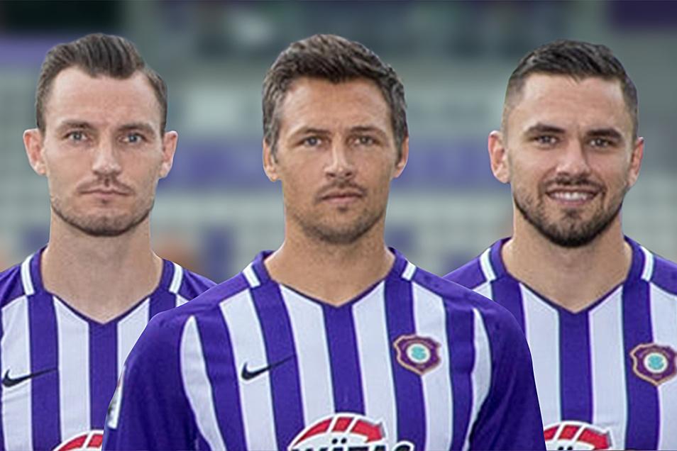 Einst liefen Florian Ballas, Sören Gonther und Pascal Testroet (v.l.) in Schwarz-Gelb auf, inzwischen streift sich das Trio die Farben des FC Erzgebirge über.