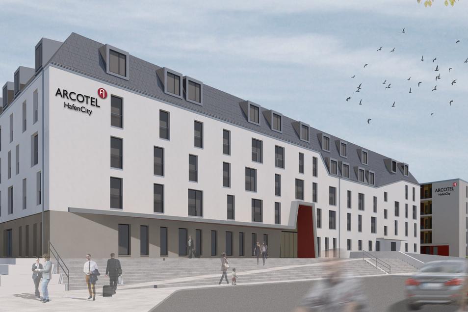 Das Arcotel in der Dresdner Hafencity soll im November eröffnen.