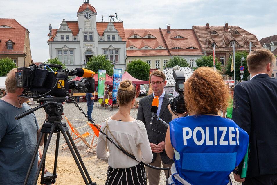 Sachsens Innenminister Roland Wöller (CDU) war am Vormittag in Ostritz.