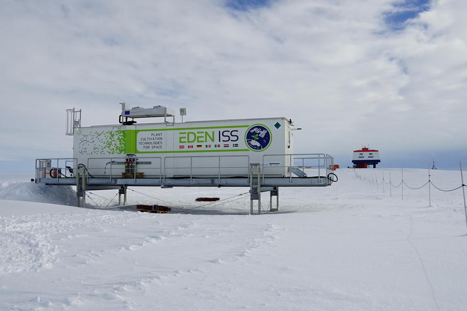 Der Garten Eden im Eis der Antarktis. Hier wächst Gemüse sogar im Polarwinter. Im Hintergrund ist die deutsche Polarstation Neumayer zu sehen.