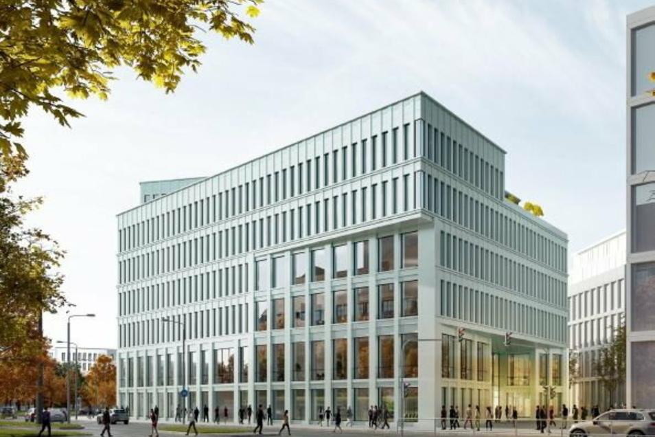 Wettbewerbsbeitrag 2: Blick aus Richtung Schulgasse auf das Verwaltungszentrum.