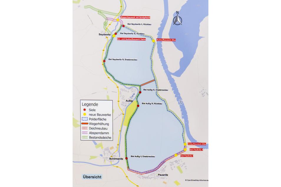 Der geplante Flutpolder bei Außig:. Im Süden die Strehlaer Ortschaft Paußnitz, mit der Maßnahme einen neuen Deich an der Ortsgrenze bekommt. Die Nord-Süd-Ausdehnung beträgt fast vier, die Ost-West-Ausdehnung fast anderthalb Kilometer.