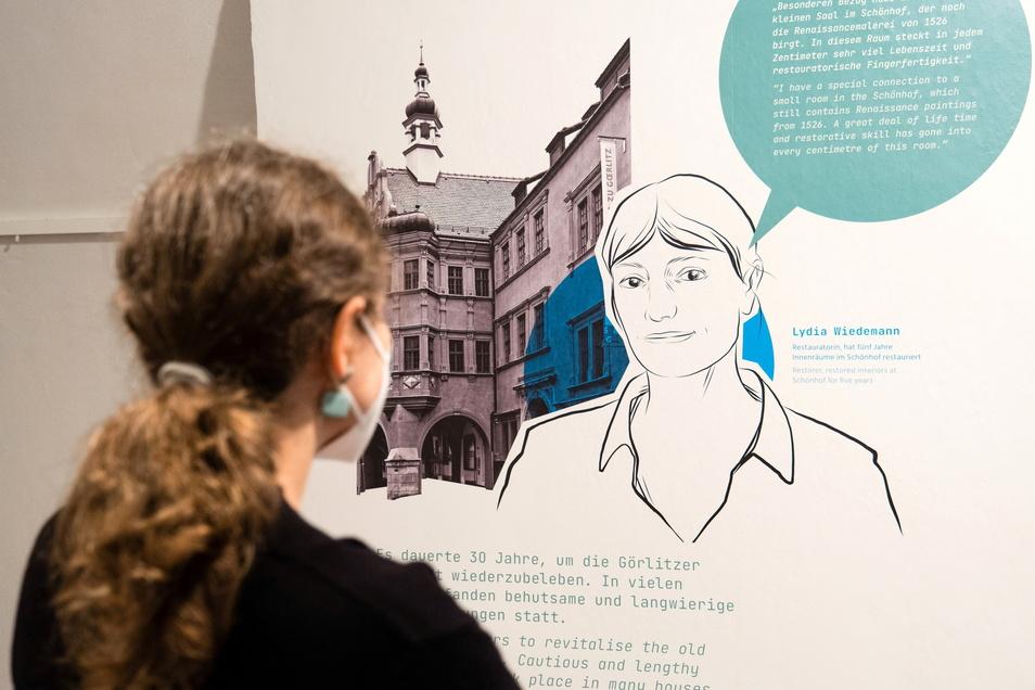 Das Welterbe-Infozentrum informiert mit Fotos, Zeichnungen und kurzen Texten über die Görlitzer Bewerbung.
