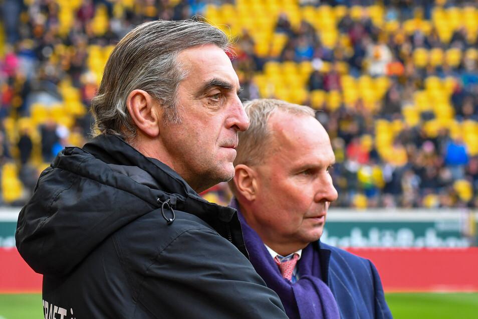 Mit Dynamos Sportchef Ralf Minge verbindet Helge Leonhardt nicht nur eine sportliche Rivalität, sondern auch eine persönliche Freundschaft.