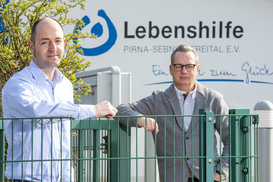Lebenshilfe-Geschäftsführer Burkart Preuß (l.), Vereinschef Ralf Thiele: Die Mitarbeiter leisten derzeit Unglaubliches.