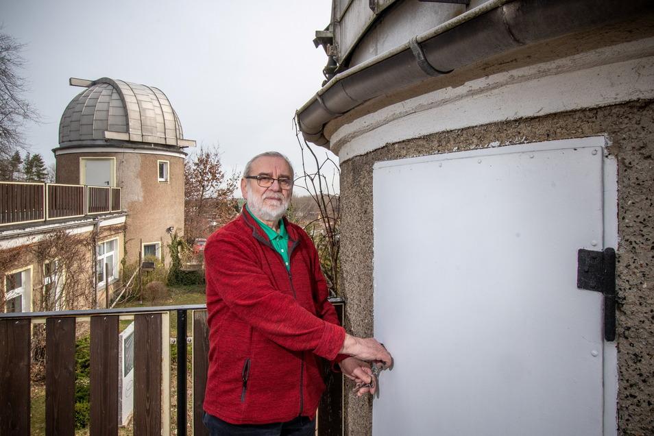 Hans-Dieter Köhler würde die Türen der Sternwarte gern wieder für Besucher aufschließen. Doch wegen Corona ist das im Moment unmöglich. Ob es einen Tag der offenen Tür zum 25. Vereinsbestehen geben kann, ist derzeit offen.