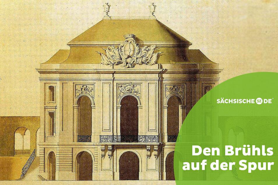 Ab 1739 bebaute Heinrich von Brühl die Festungsanlagen an der Elbe. Zur heutigen Brühlschen Terrasse gehörte neben Palais, Galerie und Bibliothek das Belvedere. Preußens König Friedrich II. ließ es im Siebenjährigen Krieg zerstören.