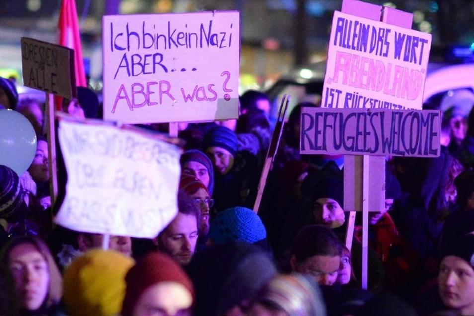 Die Botschaften der Pegida-Gegner.