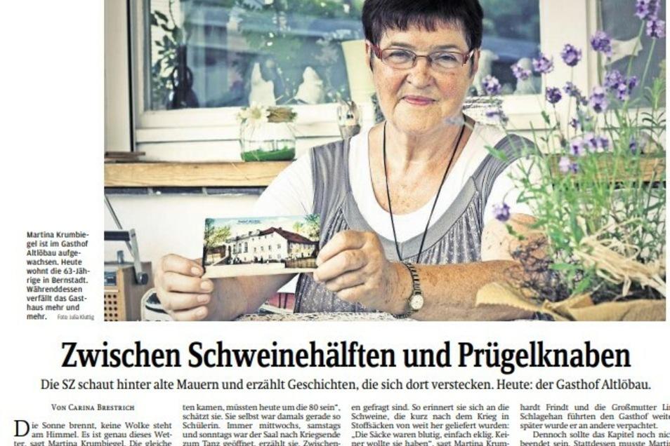 Martina Krumbiegel - hier im SZ-Bericht von 2013 - gehörte zur Familie Schlagehan, die den Gasthof viele Jahre betrieben haben.