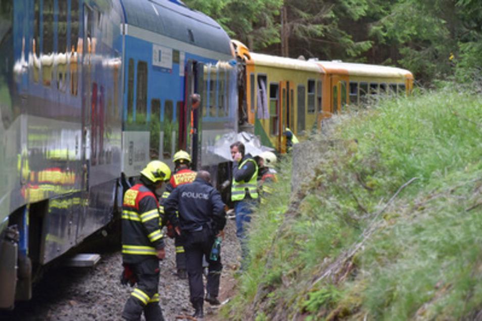 Beim Frontalzusammenstoß zweier Personenzüge auf einer Strecke durch das Erzgebirge zwischen Tschechien und Deutschland hat es Tote und Verletzte gegeben.