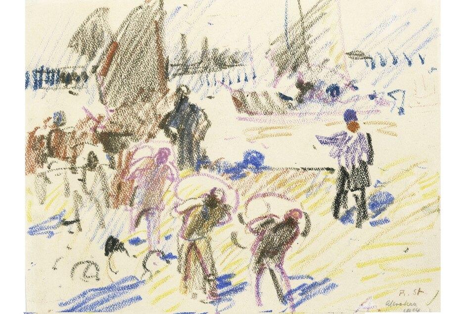 Robert Sterl zeichnete 1914 Lastenträger im Hafen der russischen Stadt Astrachan.