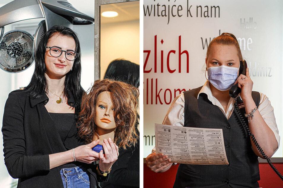 """Alina Döcke (l.) absolvierte in der """"Haarschmiede"""" in Bautzen eine Ausbildung zur Friseurin. Jenny Gottstein ist im dritten Ausbildungsjahr zur Hotelfachfrau. Sie arbeitet im Hotel Best Western in Bautzen."""