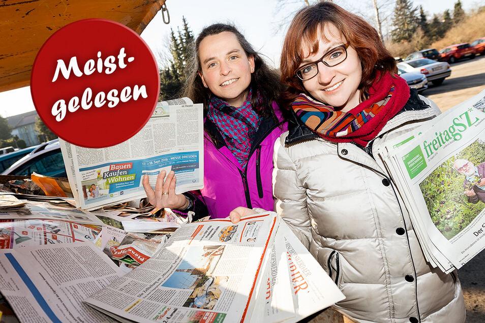 Bettina Kling (links), die Leiterin der Putzkauer Kita Zwergenland, und ihre Stellvertreterin Franziska Lohse können sich noch freuen: Sie bekommen fünf Cent pro Kilo Altpapier, das im Container vor dem Kinderhaus zusammenkommt.