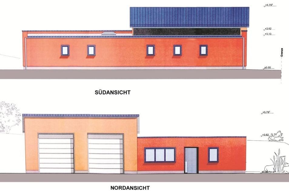 Die neue Rettungswache, die im Ortsteil Altbernsdorf gebaut wird. Unten die Straßenansicht des Gebäudes, das neben dem Feuerwehrhaus entsteht. Grafik: Ingenieurbüro Noack