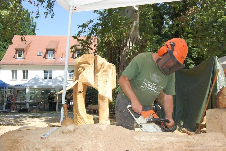 Zu zwei Dritteln hat Olaf Klepzig seinen Elefanten (im Hintergrund) fertig. Hier arbeitet er an Teil Nummer drei.
