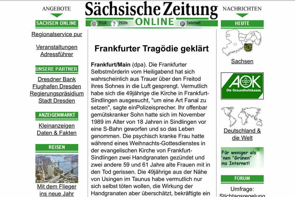 Die erste Online-Ausgabe der SZ erinnert noch sehr an die gedruckte Zeitung.