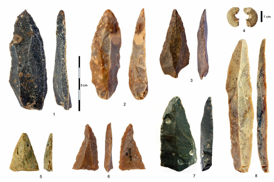 Steinartefakte aus dem frühen Jungpaläolithikum (IUP) aus der Bacho-Kiro-Höhle: 1-3, 5-7 spitze Klingen und Fragmente; 4 Sandsteinperle, deren Gestalt Knochenperlen ähnelt; 8 die längste vollständige Klinge.
