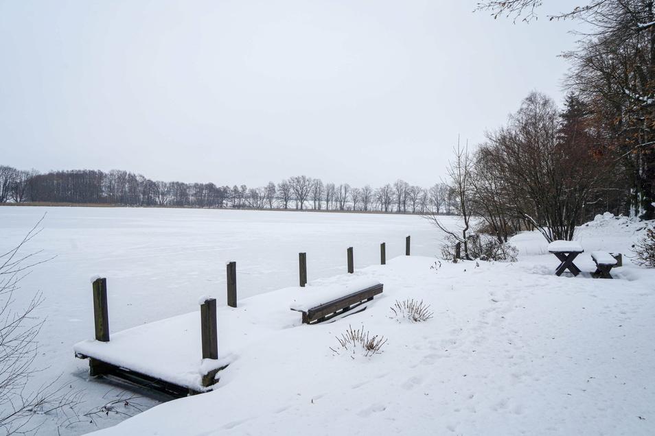 Der Bootssteg am Oberteich in Rammenau soll im Zuge des Tourismusprojektes Erlebniswanderwege erneuert und dabei auch vergrößert werden.