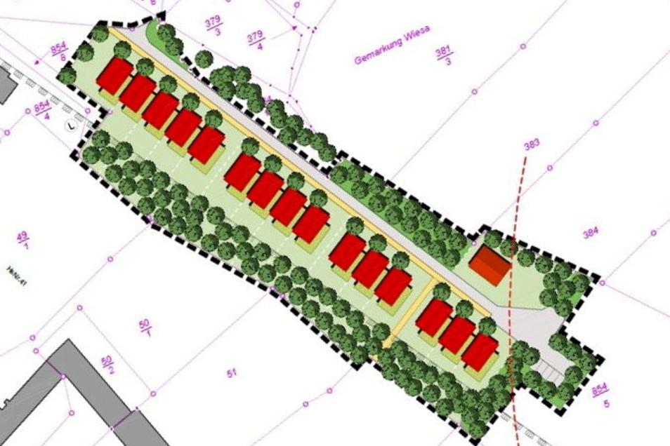 Auf dem Areal sollen 16 Häuser entstehen. Der Start für die Erschließung ist im Frühjahr/Sommer 2022 geplant.