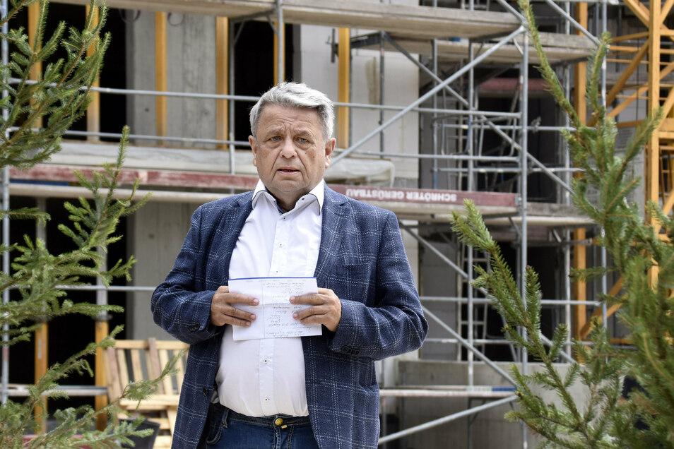 Investor Heinrich Nenninger feierte kürzlich Richtfest für 128 Wohnungen, die an der Friedrichstraße entstehen. In Dresden ist es sein letztes Bauprojekt.