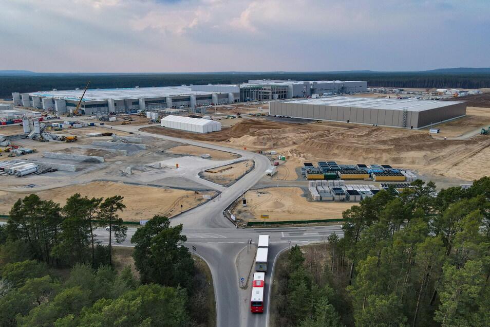 Das Baugelände der Tesla Gigafactory östlich von Berlin.