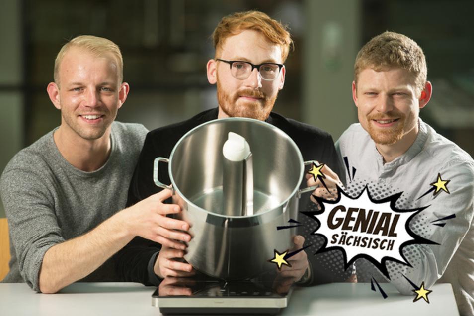 Da brennt nichts mehr an. Michael Stampka, Paul Frölich und Axel Fickert (v. l.) haben einen selbstrührenden Kochtopf entwickelt. Die Energie dafür nimmt er sich selbst direkt vom Herd.