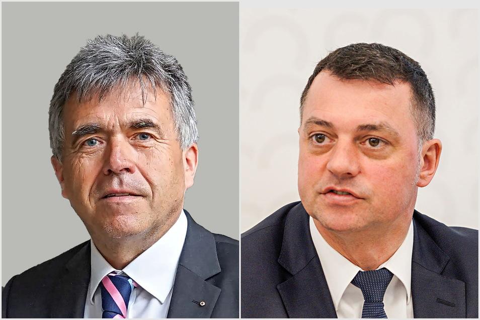 Der Bautzener Landrat Michael Harig (l.) und sein Stellvertreter Udo Witschas hoffen, dass der Landkreis noch im Frühjahr einen genehmigten Haushalt bekommt.