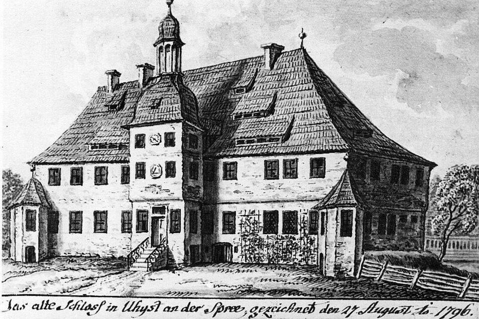 Ein Zeitdokument vom alten Schloss aus dem Jahr 1796, abgerissen Mitte des 19. Jahrhunderts.