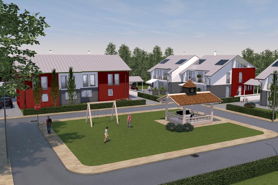 So soll das kleine Baugebiet in Saalhausen gestaltet werden. Die zweistöckigen Häuser haben eine Wohnfläche von rund 140 Quadratmeter.