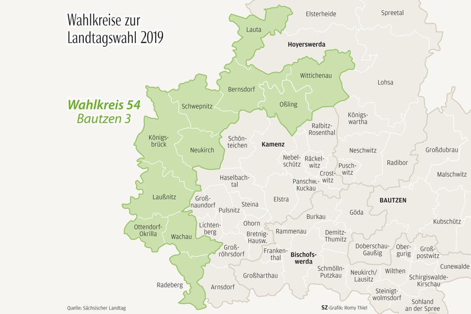 Diese Gemeinden (grün) gehören zum Wahlkreis 54.
