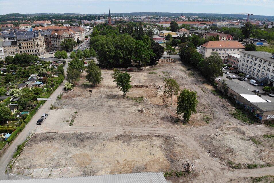 Auf dieser Fläche soll das Wohngebiet Marina Garden entstehen. Die Abbrucharbeiten sind abgeschlossen und das Gebiet wurde beräumt.