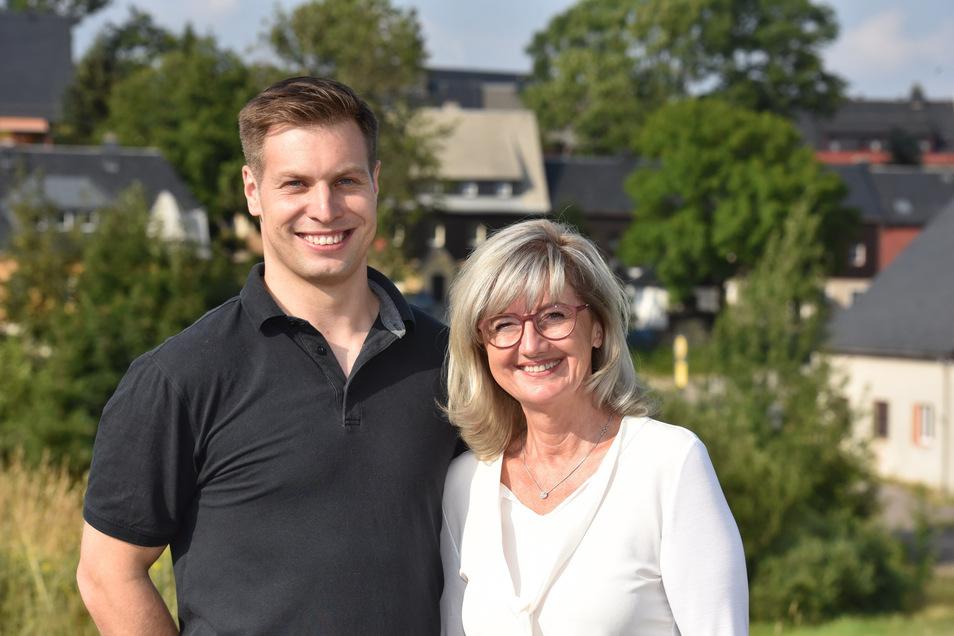 Bob-Pilot Nico Walther und die CDU-Landtagsabgeordnete Andrea Dombois. Sie verbindet nicht nur der Sport, sondern auch die CDU. Beide treten zur Landtagswahl an und stellten sich diese Woche in Altenberg im Bunten Häusel vor.