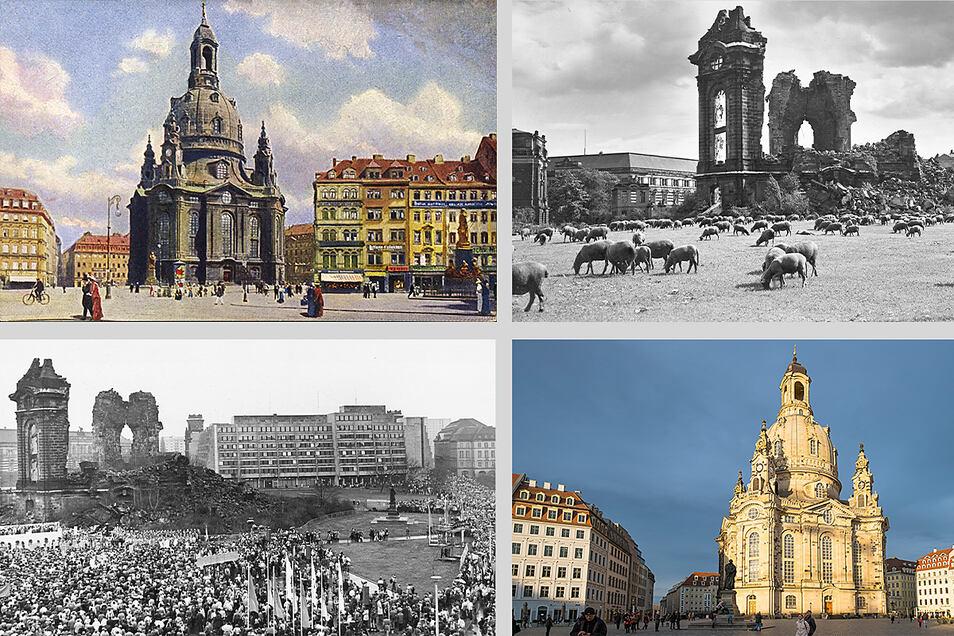 Die Frauenkirche von 1910 bis heute.