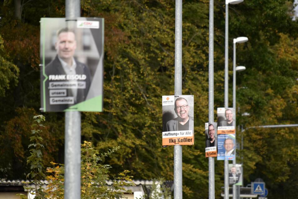 Mit zahlreichen Plakaten hatten die Kandidaten für sich geworben. Jetzt ist die Wahl entschieden. Arnsdorf hat mit Frank Eisold (CDU) einen neuen Bürgermeister.