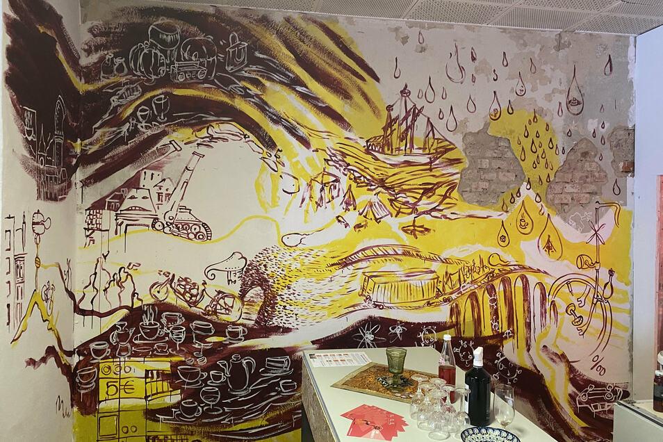 Wandbild in einem Löbauer Klub
