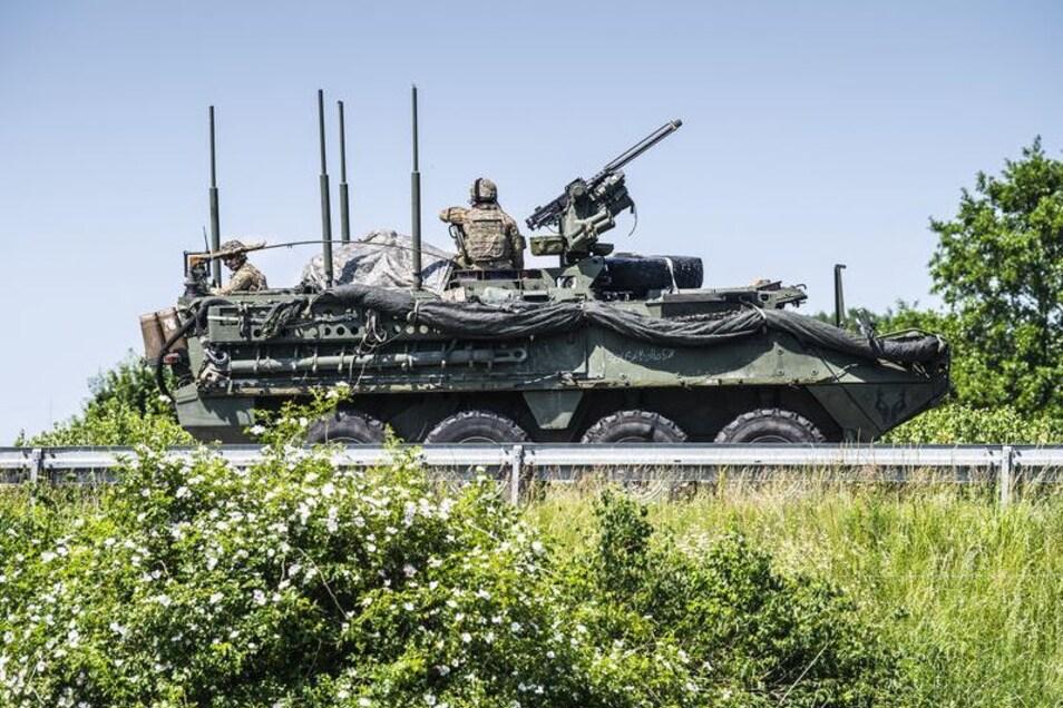 """Auch voriges und vorletztes Jahr (Foto) fuhren Militär-Konvois Richtung Polen durch die Oberlausitz. Die Übung """"US Defender Europe 2020"""" soll deutlich größer ausfallen."""