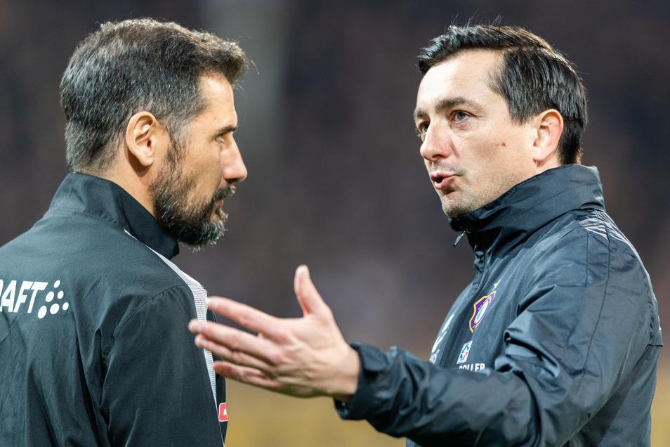 Auch die beiden Trainer Cristian Fiel und Daniel Meyer tauschten sich aus.
