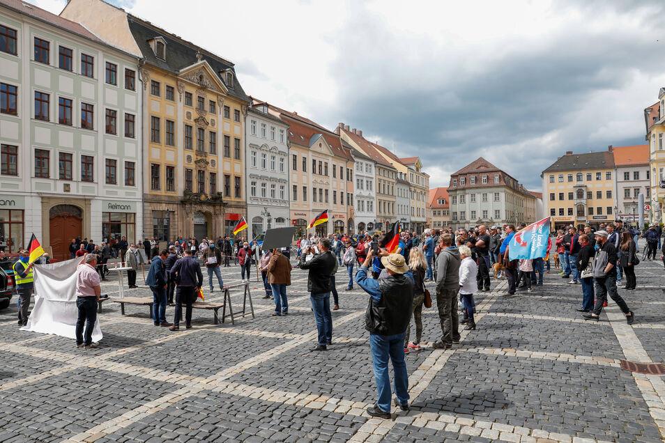 Die Kundgebung der AfD fand auf dem Zittauer Markt statt.