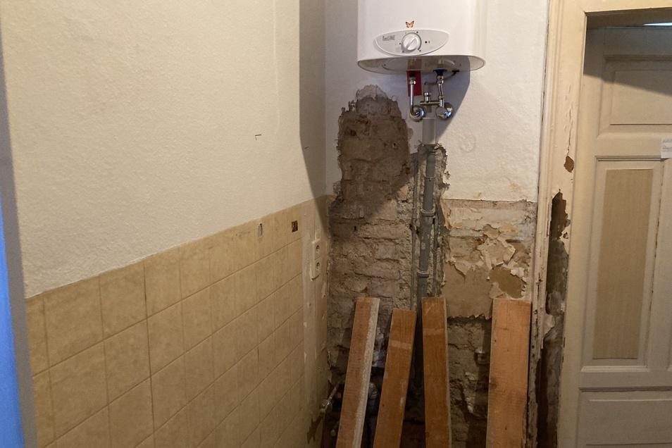Auch in der Küche wurde das Waschbecken entfernt.
