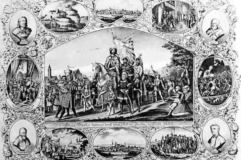 """1855 gab die Stadt Zittau diese Karte """"Zur Erinnerung an die 600-jährige Feier der Erhebung Zittaus zur Stadt"""" heraus. Das Hauptmotiv, Ottokars Umritt, wurde mit Illustrationen und Persönlichkeiten der Stadtgeschichte umrankt."""