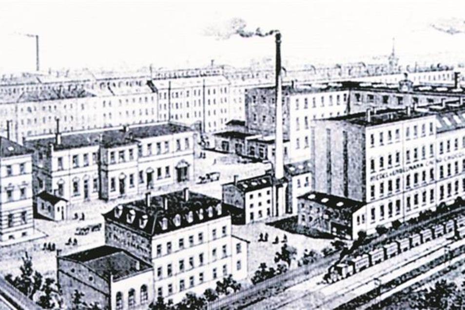 Eine Abbildung der Schwerter-Schokoladen-Fabrik als an die 250 Beschäftigte hier arbeiteten. Repro: André Wirsig/Sammlung Knaack