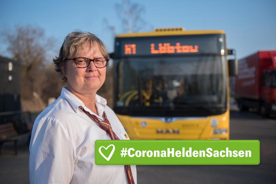 Heike Stanski fährt Bus für die Dresdner Verkehrsbetriebe DVB auch in Corona-Krisenzeiten, über manche Fahrgäste kann sie sich nur wundern.