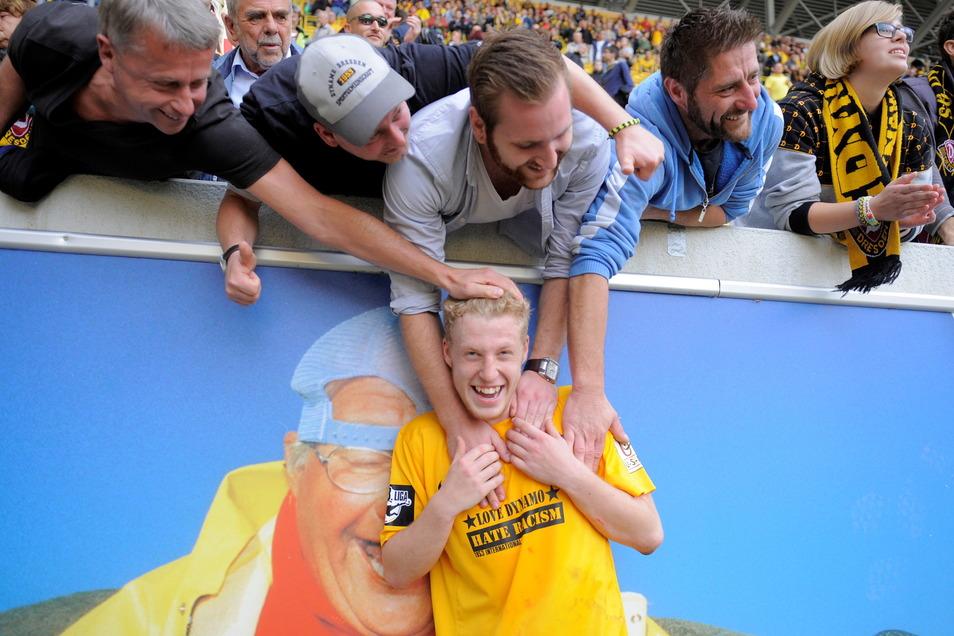 Fast sieben Jahre ist es her: Robin Fluß nach seinem Profi-Debüt als 18-Jähriger für Dynamo Dresden.