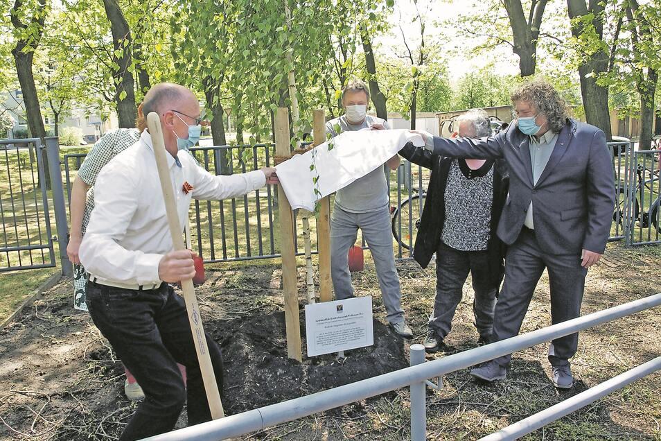Vertreter von der Stadt Weißwasser, Vereinen und Bürger pflanzten am 8. Mai 2020 eine Weißbirke am Sowjetischen Ehrenmal und enthüllten eine Gedenktafel.