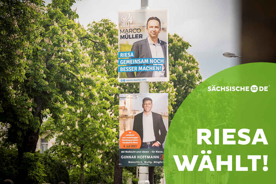 Zwei Bewerber, eine Entscheidung: Am 4. Juli 2021 wird in Riesa der OB gewählt.