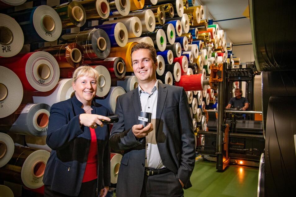 Katja Meißner und Ivo Kionka sind die neuen Chefs bei Kurz Typofol in Döbeln.