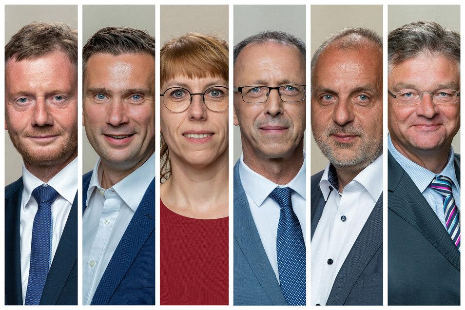 Die sechs Spitzenkandidaten der größten Parteien zur Landtagswahl 2019 in Sachsen.